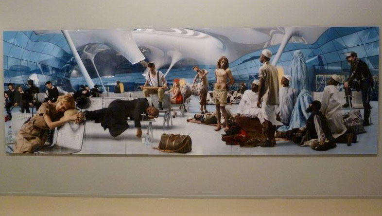 Large painting of various people at an airport